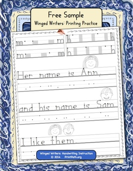 printing instruction 1st 2nd free handwriting without tears style letters