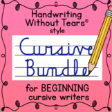 Handwriting Without Tears® style CURSIVE handwriting practice worksheets BUNDLE