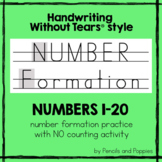Handwriting Without Tears NUMBER Formation handwriting practice SET #2