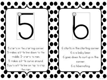 Handwriting Without Tears Number Formation Stories - Black and White Polka Dot