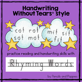 Handwriting Without Tears® style RHYMING WORDS Handwriting