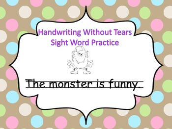 Handwriting Without Tears Sight Word Practice