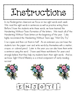 Handwriting Without Tears Sight Words 2