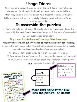 Handwriting Without Tears Style Lowercase Letter Puzzles