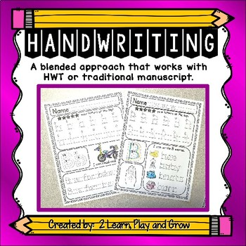 Handwriting Without Tears Style Worksheets Preschool through 1st Grade