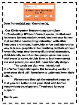Handwriting Without Tears Welcome Note