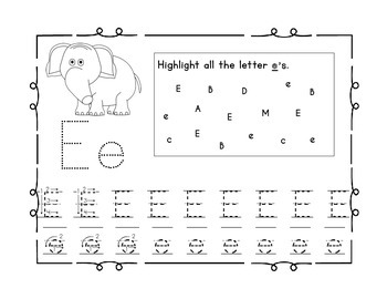 Handwriting Workbook, Letter E