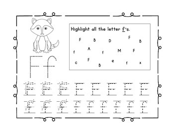 Handwriting Workbook, Letter F