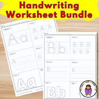 Handwriting Worksheet Bundle/ Manuscript Style -15 different Alphabet packets
