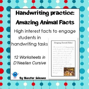 Handwriting Worksheet Set: Amazing Animal Facts in D'Nealian Cursive