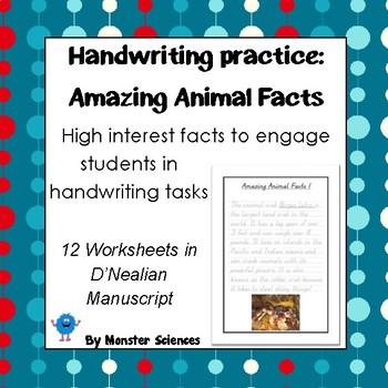 Amazing Animal Facts Handwriting Worksheet Set in D'Nealian ...