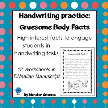 Handwriting Worksheet Set Gruesome Body Facts In Dnealian Manuscript