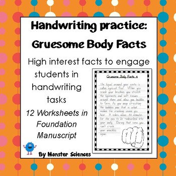 Handwriting Worksheet Bundle: Gruesome Body Facts in Foundation Manuscript