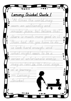 Handwriting Worksheet Set: Lemony Snicket Quotes in D'Nealian Manuscript