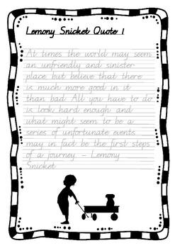 Handwriting Worksheet Bundle: Lemony Snicket Quotes in Foundation Cursive