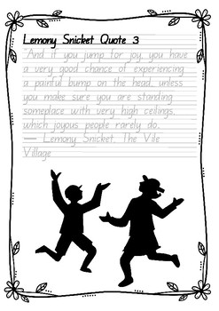 Handwriting Worksheet Set: Lemony Snicket Quotes in Foundation Manuscript