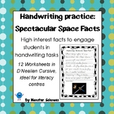 Handwriting Worksheet Set: Spectacular Space Facts - D'Nealian Cursive