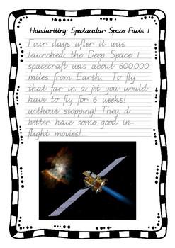 Handwriting Worksheet Bundle: Spectacular Space Facts - Foundation Cursive