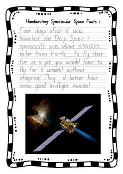 Handwriting Worksheet Set: Spectacular Space Facts - Foundation Manuscript
