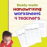 Handwriting Worksheets 4 Teachers (D'Nealian/Manuscript -