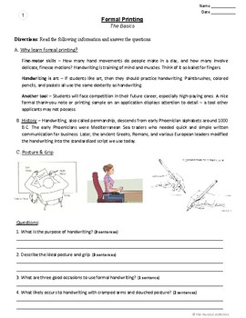 Handwriting: 54 Printing Practice Prompts (Grades 3-7) U.S. States