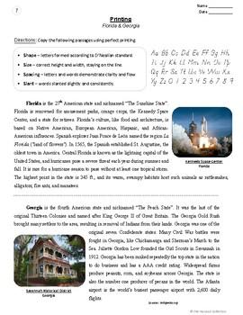 Printing Worksheets: 54 Handwriting Practice Prompts (Grades 3-7) U.S. States