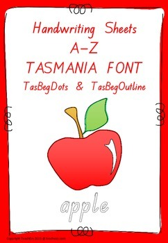 Handwriting Worksheets A to Z Tasmania font
