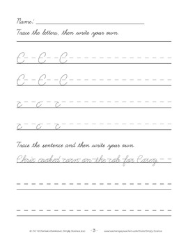 Handwriting Worksheets - Cursive