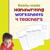Handwriting Worksheets for Teachers
