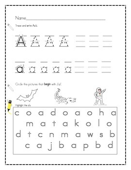 Handwriting and Phonics pgs for Letters Aa to Ii