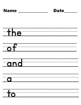 Handwriting and Practice Sheets for first 300 FRY Words