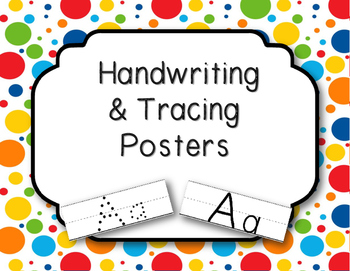 Handwriting and Tracing Posters for Alphabet - Bright Dots