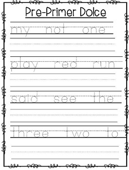 Handwriting and Tracing- Pre Primer Dolch Words Simple Sentences