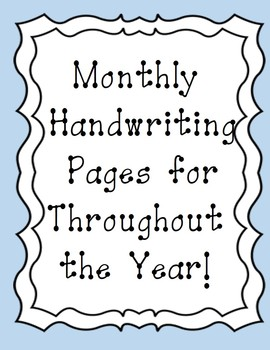 Handwriting by the month