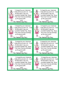 Handwriting fairy Reward Cards