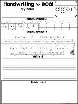 handwriting for fun unit 6 sight word poems 1st grade dolch words. Black Bedroom Furniture Sets. Home Design Ideas