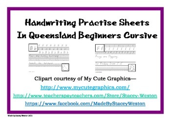 Handwriting for Prep (Kindergarten) - QLD beginner cursive script