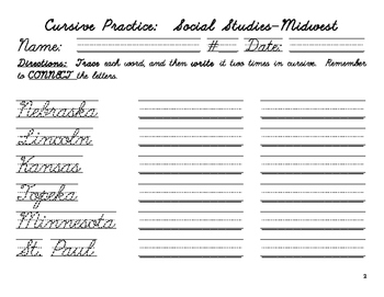 Cursive Practice-the Midwest Region