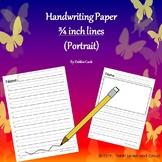 Handwriting paper (Portrait) 3/4 inch lines