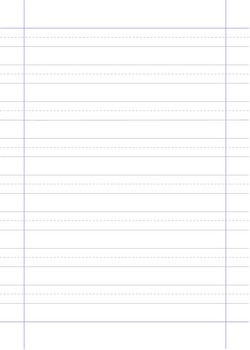 Handwriting paper with midlines and margins - three sizes