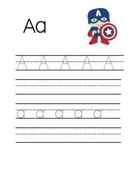 Handwriting practice / letter formation Superhero themed