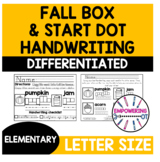 Handwriting practice letter size  letter box occupational