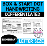 Handwriting practice letter size start dot and letter box