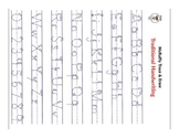 Handwriting practice with tracing capital and lowercase letters and numbers