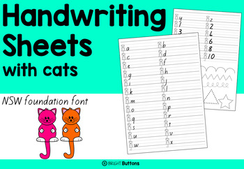 handwriting worksheets with cats by bright buttons tpt. Black Bedroom Furniture Sets. Home Design Ideas