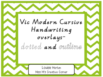 Handwriting tracing overlays Vic Modern Dotted/Outline