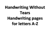 Handwriting without tears letters A-Z tracing pages