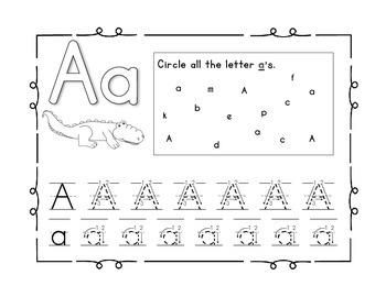 Handwriting workbook, Letter A