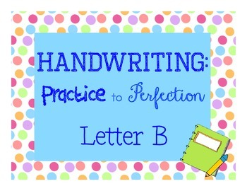 Handwriting workbook, Letter B