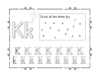 Handwriting workbook, Letter K